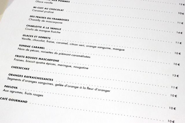 Monsieur Bleu Restaurant Carte