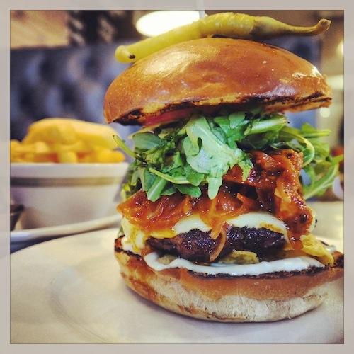 the ba burger deluxe recipe the ba burger deluxe burger cut in half ...
