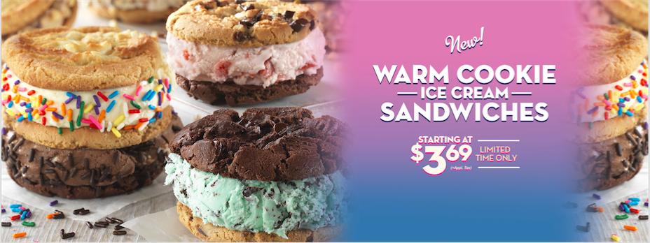 Warm Cookie Ice Cream Sandwich Baskin Robbin