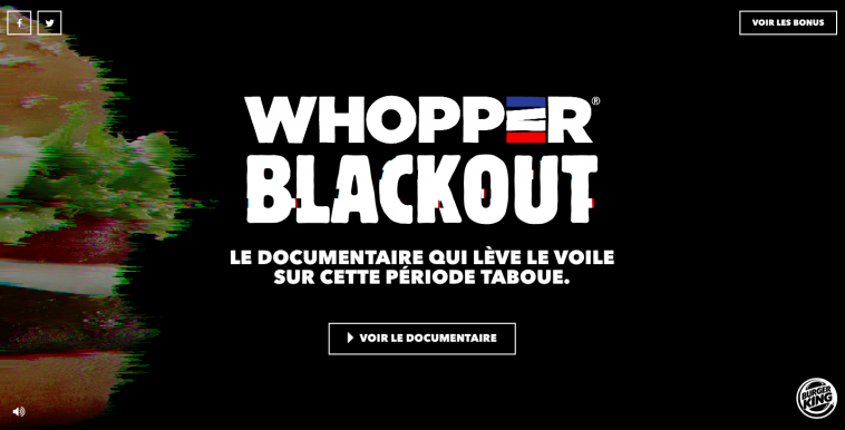 Burger King crée un documentaire sous le nom de Whopper Blackout