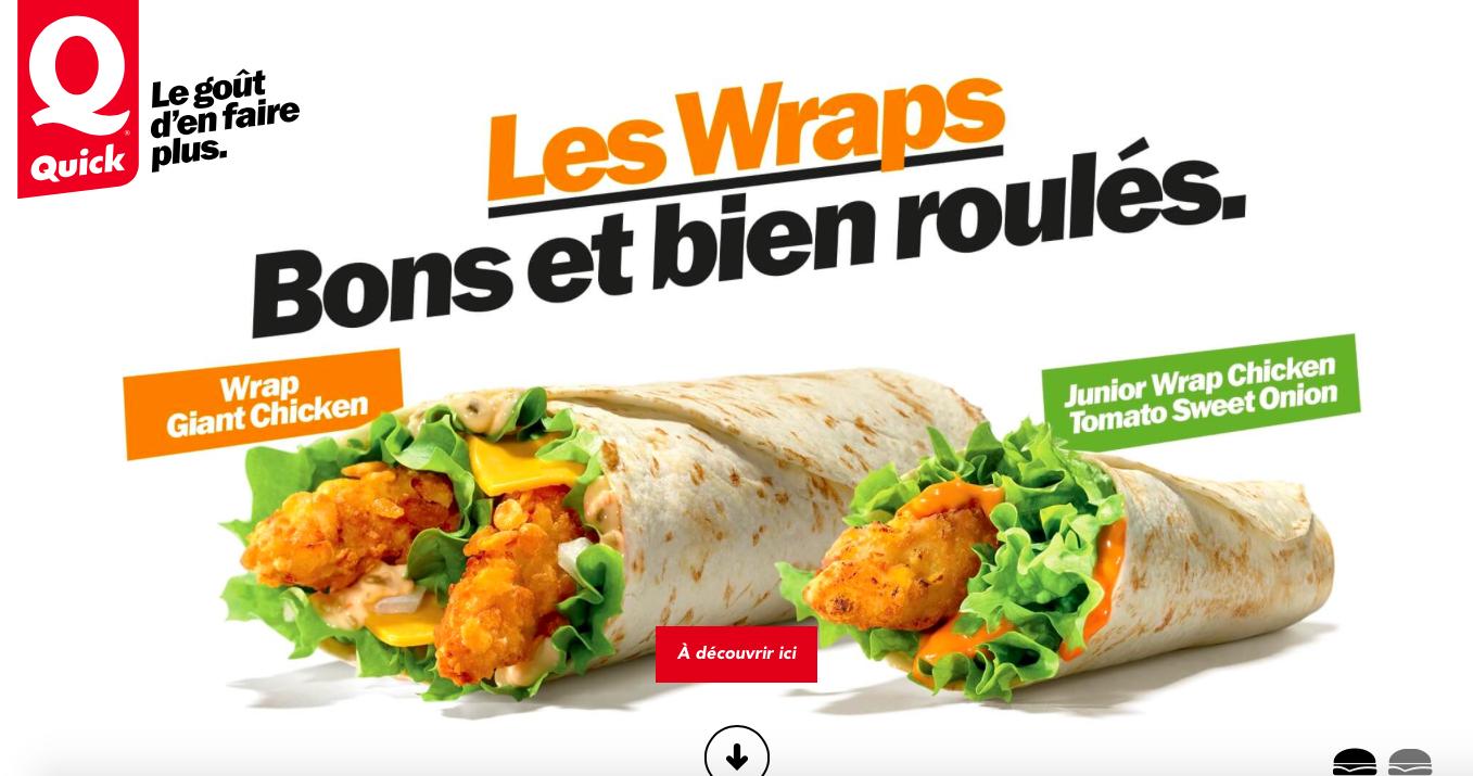 Deux nouveaux wraps sont d couvrir chez quick belgique for Cuisine quick