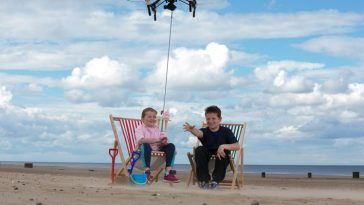 Kiera Wakefield, 9 and Taylor Wakefield, 11 of Newark, Notts, test out the new drone ice cream delivery service in Mablethorpe, Lincs. See Masons story MNDRONE: The future of beachside ice cream eating is here as a frozen desert vendor is flying the chilled snack into the 21st century with aerial drone deliveries. The innovative idea was cooked up after customer feedback showed punters didnít like getting up after they had got settled on their deck chairs. Mablethorpe Rock & Ices Limited in Mablethorpe, Lincolnshire wants to help customers avoid annoying queues at the kiosk by offering them this hi-tech delivery method through a smart phone app - for the same price as a normal purchases.