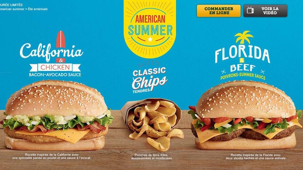 McDonald's va lancer 3 nouveaux burgers avec American Summer