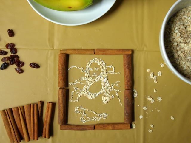 Cette artiste reproduit des tableaux célèbres avec des flocons d'avoine