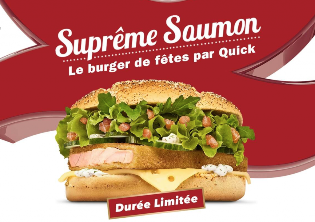 Quick lance un burger au saumon pour no l pas de foie for Cuisine quick