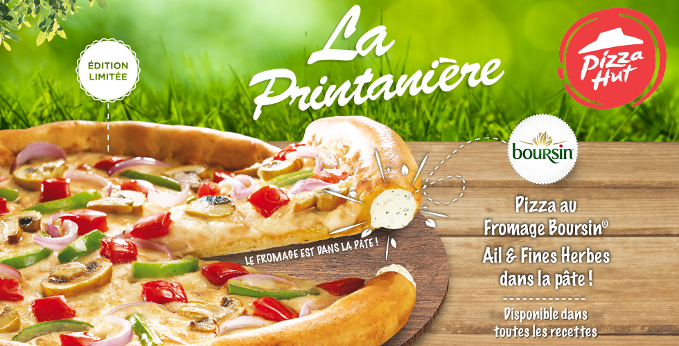 La Printanière, la Pizza au fromage Boursin® ail & fines herbes de Pizza Hut Restaurants