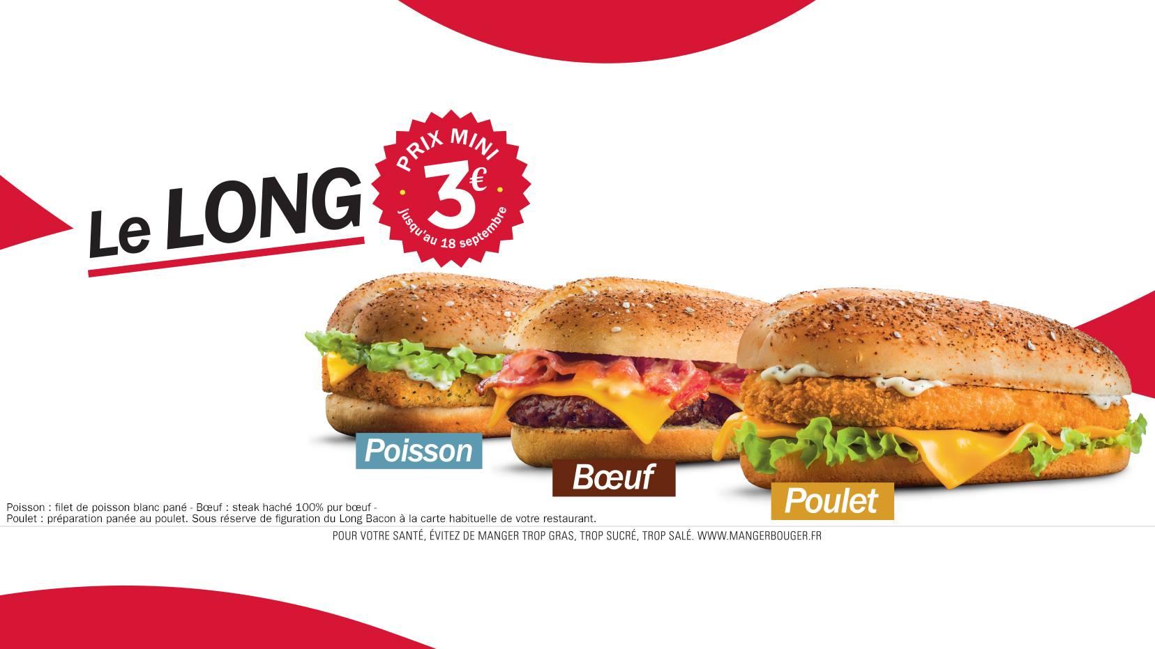 BON PLAN : Quick propose le Long Bacon, le Long Fish et le Long Boeuf à 3€